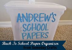 Back to School Paper Organizer by Arnold Arnold Sutherland Chapman Crafts Each child gets a clear plastic bin each school year. As soon as a project comes home, decide if it is worth keeping or not and store in the box. The rest get tossed. Back To School Gifts, Going Back To School, First Day Of School, School Days, School Stuff, School Paper Organization, Organization Hacks, Organizing Paperwork, Organizing Ideas
