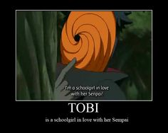 "Ok, so tobi (Orange Mask) is actually Obito, the person that ""died"" and gave Kakashi his sharingan. Also, if you arrange Obito in a certain way it spells Tobi O. So Tobi is not madara"