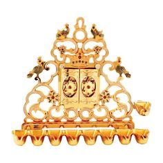 Hanukkah Menorah with Opening Doors White Enamel & Gold, Light with Candle or Oil