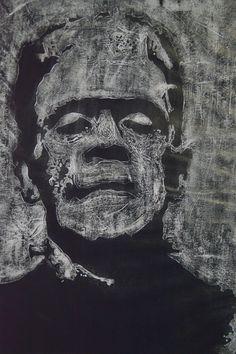 Frankenstein sobre Durex, técnica tempera y tinta china.