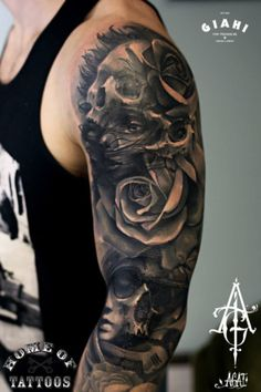 Skulls-and-Roses-Graphic-tattoo-by-Agat-Artemji.jpg (305×458)
