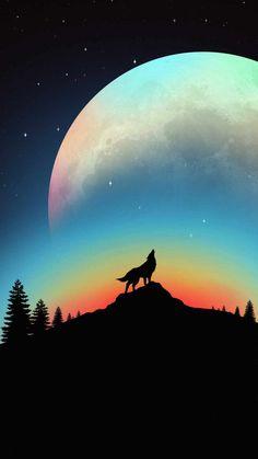 Big Moon Wolf Hawl - IPhone Wallpapers