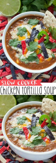 The recipe that launched 1000 requests :: My friends and family go NUTS over this super easy crockpot chicken tortilla soup!