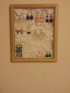 DIY earring hanger! Recycled frame, lace, and a glue gun!