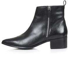 TOPSHOP ALMIGHTY Leather Ankle Boots ($46) ❤ liked on Polyvore featuring shoes, boots, ankle booties, botas, black, black leather booties, pointy-toe ankle boots, black pointed toe booties, black bootie and black booties