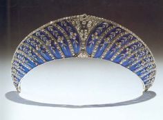 """the Platinum Chamuet Kokoshnik in Blue Enamel This azure beauty was added to the Westminster Collection, when the second Duke of Westminster,-Hugh Richard Grosvenor,nickname """"Bendor"""" commissioned it in 1911"""