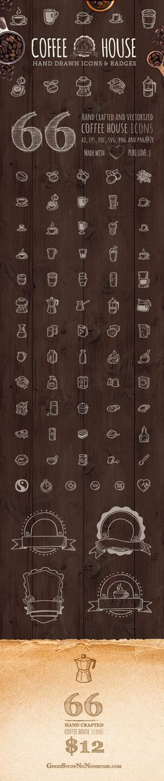66 Coffee House Icons by Agata Kuczminska