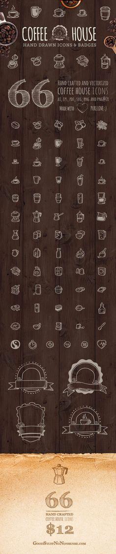 66 Coffee House Icons by Agata Kuczminska
