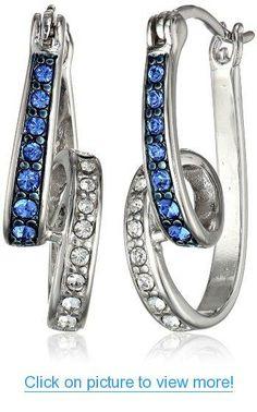 Sterling Silver Blue and White Swarovski Crystal Swirl Hoop Earrings