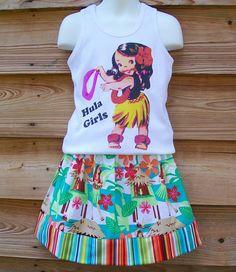 Original Boutique Vintage Hula Tank Top and Bordered Skirt