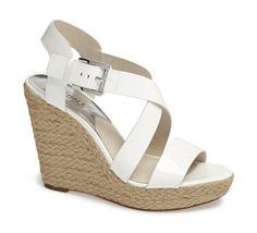 MICHAEL KORS Giovanna Wedge Sandals Optic White $129  LARGE AUTHENTIC DESIGNER SELECTION VISIT:  www.shorecasuals.com