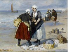 Bernardus Johannes Blommers (Dutch, 1845-1914) Fisherwomen haggling on beach