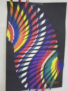 Moving lines! A colorful art project for elementary kids!