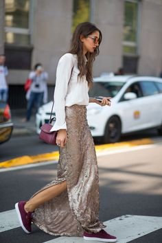 white blouse + maroon purse + gold sequin skirt + maroon sneakers