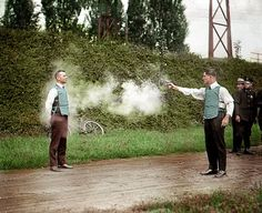 Testing bullet proof vest, September 1923