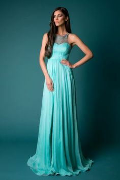 High Neck Sleeveless Chiffon Formal / Evening Dress With Appliques - ULOVEE