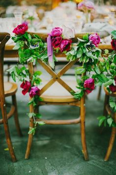 floral garland for chairs // photo by Milou + Olin