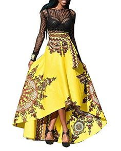 Comfy Women African Print Dashiki High Low Hem Chic Lacing Skirt Yellow M 5c4110f76458