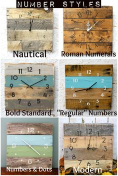 Welcome to the one and only terrafirma79 designs. Thank you for considering our artisan pallet wood clock shop for your home decor or gift giving needs. A bright and bold, hip and handsome wall clock made of recycled pallet wood! The main picture above is a clock in a sunny Florida orange color with nice white Roman Numerals and white basic clock hands...and this exact clock is NOT still available, but the listing in general allows you the freedom to choose the color you prefer. We can…