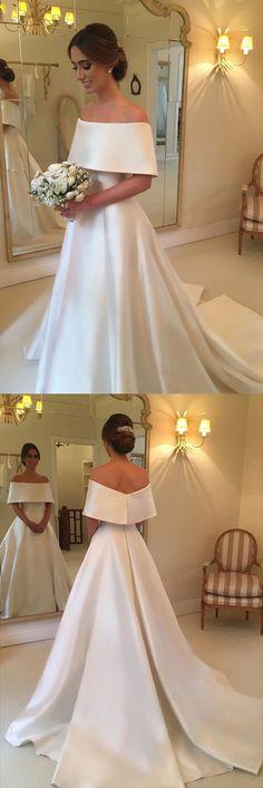Simple Satin A-line Off the Shoulder Cheap Bridal Gown, Wedding Dresses, SW140 #Weddingdresses #Bridalgowns #Bridaldresses #Wedding #Simidress