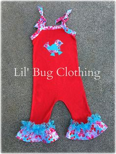 Lil Bird Romper Outfit, Toddler Romper, Summer Spring Girl 1 Piece Romper, Custom Boutique Romper, Teal Lace Romper by LilBugsClothing on Etsy https://www.etsy.com/listing/289414349/lil-bird-romper-outfit-toddler-romper