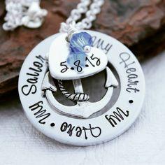 Navy Wife Necklace - Navy Wife Jewelry - Navy Girlfriend Necklace - Navy Wife Gift  - US Navy Jewelry - Military Jewelry -  Navy Mom Jewelry by SweetAspenJewels on Etsy https://www.etsy.com/listing/242198718/navy-wife-necklace-navy-wife-jewelry