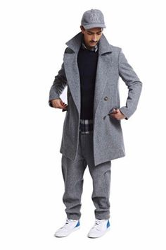 ami paris - alexandre mattiussi | unlined double-breasted coat - heathered grey