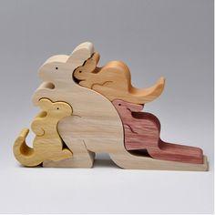 組み木 木のおもちゃ 『遊プラン』 KA581 | ワラビーの親子(4匹)・M
