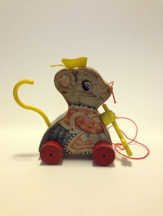 Vintage Fisher Price Pull Toy Merry Mousewife 1962 by MapleVintage, $25.00