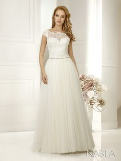 Wedding Dress Kristal Silk Satin Tulle Lace Top  Kristal is a beautiful flowing gown with a stunning lace bodice and button up back fastening with golden belt detail. Available in Ivory or White and in sizes 6-18
