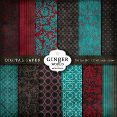 Digital Paper Pack Ruby red turquoise damask  DG140 by GingerWorld, $4.25