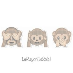 Patrón de punto de cruz 3 monos malvados traviesos emoji. on Etsy, 3,29 €