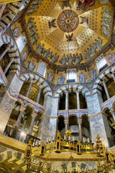 One of the most beautiful chapels we've visited in all of our travels is the Palatine Chapel or Palace Chapel built in 786 AD for Charles the Great. See more at:  http://mikestravelguide.com/aachens-kaiserdom-part-2/