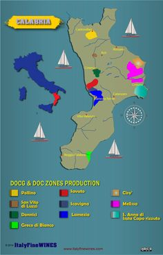 wine map calabria -italy with details of doc and docg appellations. Download it at www.italyfinewines.com