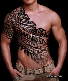 Mens Tribal Chest Tattoo Across The Body