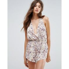 Y.A.S Floral Playsuit (£35) ❤ liked on Polyvore featuring jumpsuits, rompers, multi, tall romper, plunging neckline romper, playsuit romper, leather romper and flower print romper