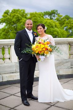 Yellow orange wedding bouquet by Eight Tree Street, photo Amelle Photography at the Daughters of the American Revolution