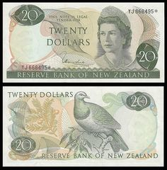 New Zealand Twenty Dollar Note front & back