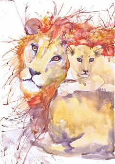 Lion and cub high quality fine art print of my original watercolor painting. It is the work of a watercolor series Portraits of the Heart   Size paper: