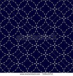 Sashiko Seamless indigo white vintage traditional Japanese stitchedo pattern seven treasures