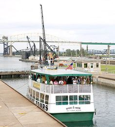 Soo Locks Boat Tour, Sault Ste. Marie, MI with link to article on top attractions in Michigan's Upper Peninsula.