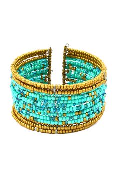 Turquoise Raquel Seed Bead Cuff on Emma Stine Limited