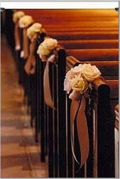 Pew Decorations @Erica Bye  what about this for the pews in plum?