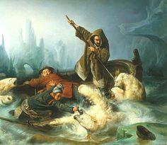 Jo ennen matkaansa Norjaan ja Suomeen François-Auguste Biard maalasi taistelun jääkarhujen kanssa. Jäämeren eksotiikka kiehtoi häntä.