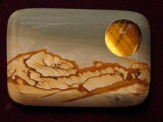 Picture Jasper with pure African Gold Tiger-Eye inset.           (Sunrise/Sunset Buckle)
