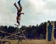 Soviet Spetznaz training camp. Backflip axe chop. Thank God the Cold War is over, that's all I have to say.