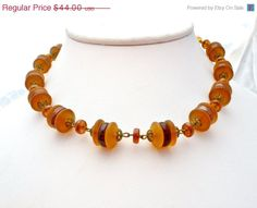 40% Off Amber Glass Bead Necklace Vintage by TheJewelryLadysStore