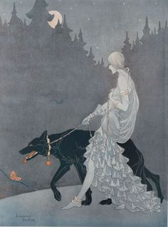 Woman with hound. -This is what I imagine Iroh and I look like in my head.