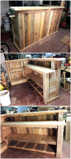Pallet Furniture Ideas pallet-wooden-bar - I can still remember the time when we started the wood pallet recycling, I guess the money was the biggest motivation that literally compelled us. Wood Pallet Recycling, Pallet Crafts, Pallet Projects, Recycled Wood, Wooden Crafts, Outdoor Wood Projects, Recycled Tires, Diy Projects For Men, Repurposed Wood