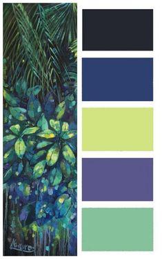 """Tropical wall art """"Rain Forest"""", oil painting Tropical wall art """"Rain Forest"""", oil painting – art studio This image has. Color Palette For Home, Color Schemes Colour Palettes, Paint Color Schemes, Colour Pallette, Bedroom Color Schemes, Paint Colors, Color Combos, Paint Color Swatches, Portrait Renaissance"""